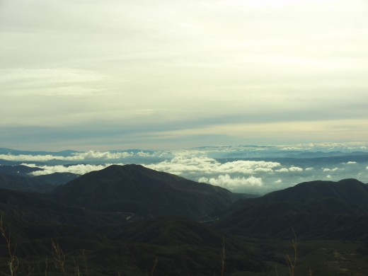 The view of the San Bernardino Valley with clouds above it.