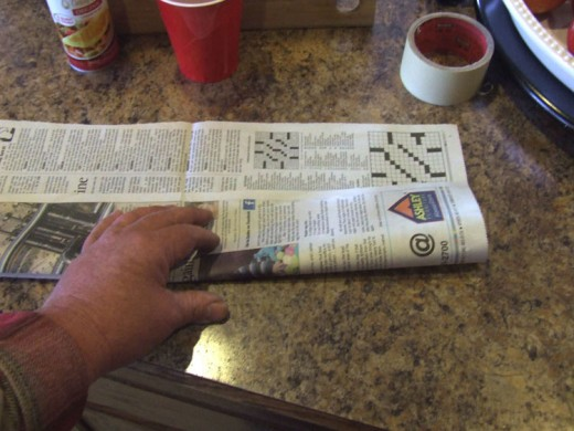 Tear or cut a single page of newspaper and fold it long-ways into 1/3rd its size.