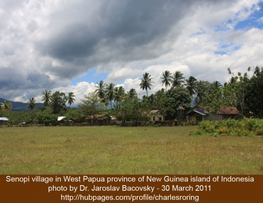 Senopi village in New Guinea island of Indonesia