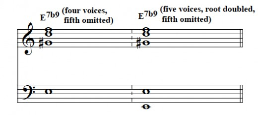 Incomplete dominant ninth voicings.