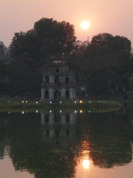 Sunset at Hoan Kiem Lake, View of Tortoise Tower, Hanoi Vietnam