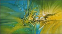 Glenn Bautista, New Earth Flower comple 2006 Oil on Canvas 81 x 142