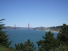 A view from Land's End ~ the famous Golden Gate Bridge with Baker Beach on the right.