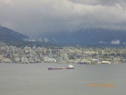 Looking toward North Vancouver over Burrard Inlet from atop the Lookout at Harbour Center.