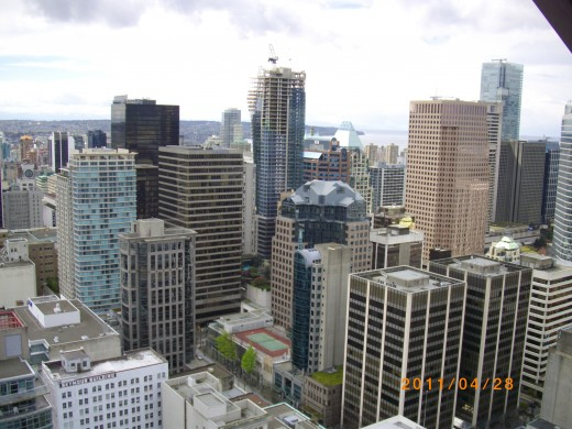 Looking west over downtown Vancouver from the Lookout in Harbour Center.