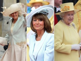 Princess Kate's stepmom in law , mother, and Grandmother- in- law, the Queen at the Royal wedding  Camilla Parker-Bowles , Carole Middleton, Queen Elizabeth II