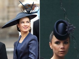 "Lady Windsor and  Victoria Beckham in a Phillip Treacy ""fascinator"""