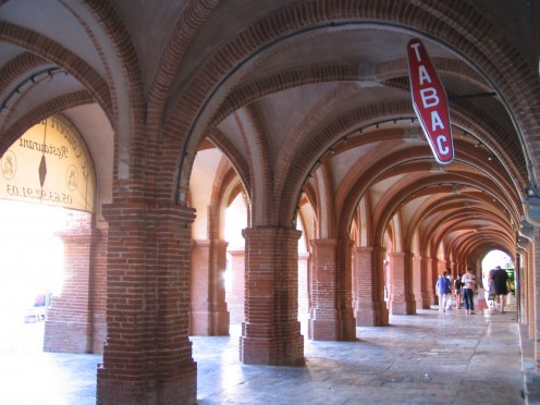 Double row of arcades at Place Nationale, Montauban