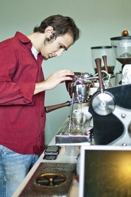 Barista at work in a North American Coffeehouse