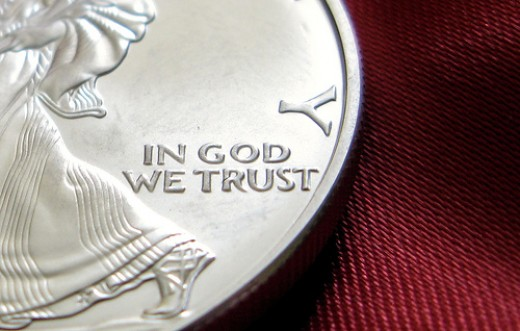 """In God We Trust"" reminds people every day of America's Christian heritage. (From http://www.flickr.com/photos/pagedooley/1303402061/in/photostream)"