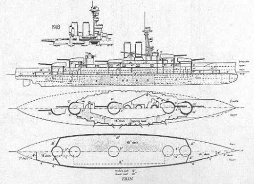 Drawing showing the transformation from the Ottoman 'Reshadieh' to HMS Erin