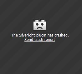 Microsoft Silverlight plugin crash message