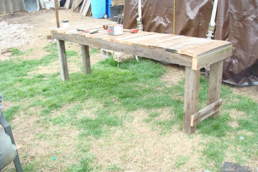 Potting bench under construction