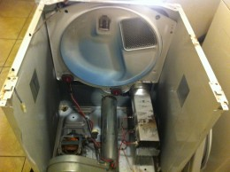My dryer after 2 hours and removing at least 50 screws and the top, the front, the blower cover and the drum!