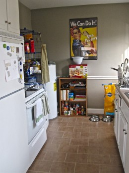 My tiny kitchen in which organizing is key to maximizing the space.