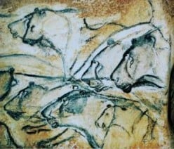 Cave painting of lions at Chauvet Cave in France, circa 27,000 years ago
