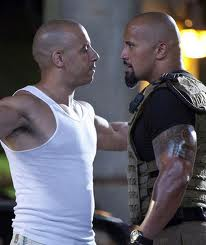 Dwayne Johnson (the Rock) and Vin Diesel in Fast Five