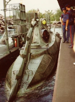 Boarding the submarine for the 20,000 Leagues under the Sea ride.