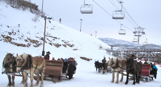 The sleigh ride up the mountain to The Snowed Inn in Park City.