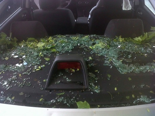 My rental cars rear window didn't stand a chance against last night's hail.  The body didn't hold up too well either.