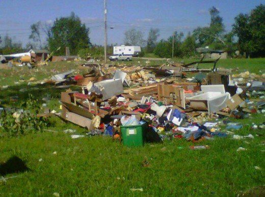What is left of a mobile home