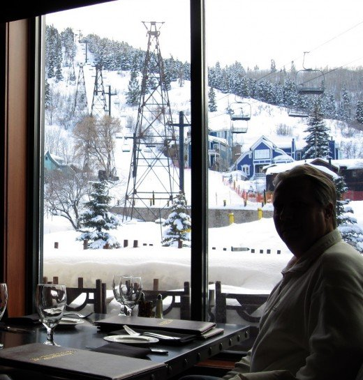 Dinner with a mountain view in Park City, Utah.