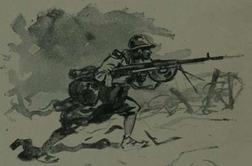 Illustration of the Chauchat machine rifle in action, dated 1922