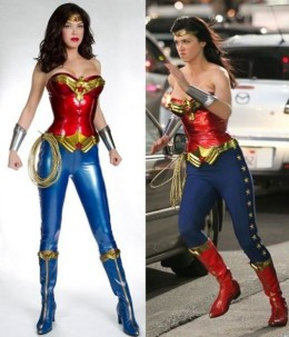 The new Wonder Woman costume before and after.