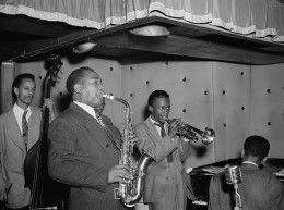 Charlie Parker, with Miles Davis, Duke Jordan, and Tommy Potter.  (Not shown:  drummer Max Roach.)