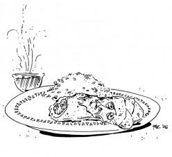 Osama Bin Burrito, Rice, Hot Tea