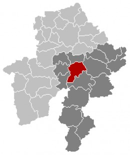 Map location of Dinant in Namur province (Bouvignes-sur-Meuse is situated in Dinant municipality)