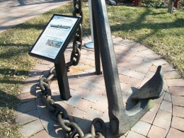 The anchor of the steamship 'Cibola', on display outside the Lewiston Historical Museum
