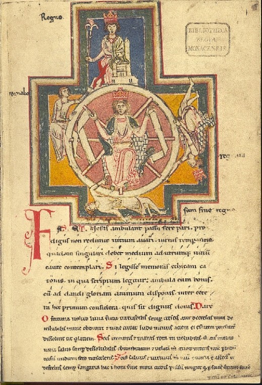 "The wheel of fortune from the Burana Codex; The figures are labelled ""Regno, Regnavi, Sum sine regno, Regnabo"": I reign, I reigned, My reign is finished, I shall reign"