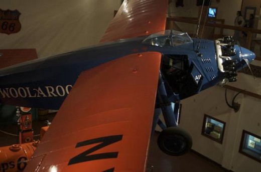 The Woolaroc plane located inside the museum