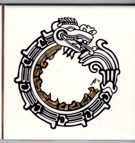 "Aztec dragon  with partial gild (4.25"" x 4.25"")"