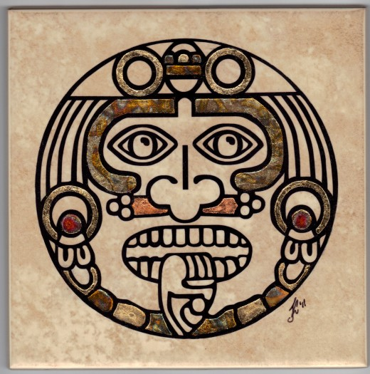 "Aztec face with partial gild signed (6"" x 6"")"