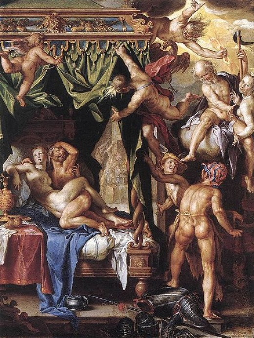 Ares and Aphrodite discovered together by the gods by Joachim Wtewael 1604