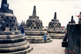 Stupas at Borobudur temple, a beautiful temple which was built by Mataram King  with strong influence of Budhism. This character makes the temple different from Hindu temples like Perambanan  above.