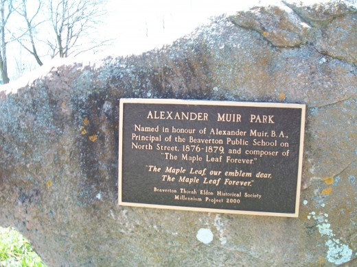 Close up of plaque at Park named for Alexander Muir, author of 'The Maple Leaf Forever'