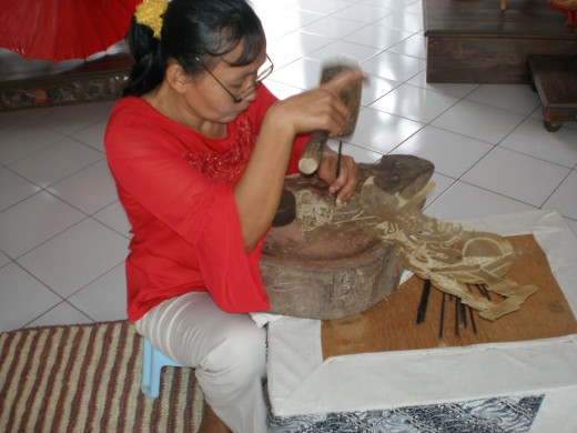 Leather puppet making, one of Javanese heritage which is also one of Keraton preservation programs.
