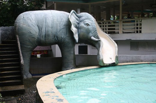 Kiddie pool with elephant nose as a slide. Sta. Fe resort