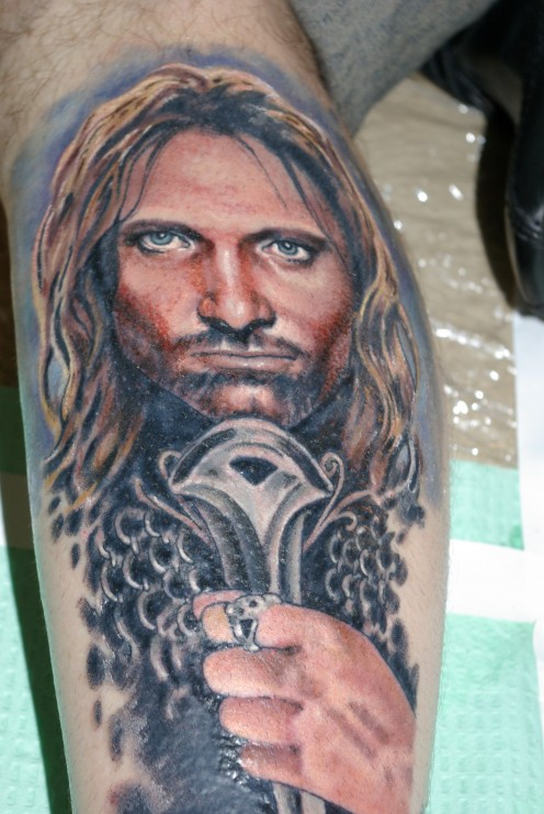 Aragorn tatto created by Hannah Aitchison from Deluxe Tattoos, Chicago, USA and Star of LA ink