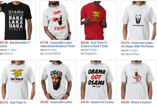There are 3600+ t-shirts of bin Laden on Zazzle. Click on the link to view and make a purchase. Celebrate in our victory.