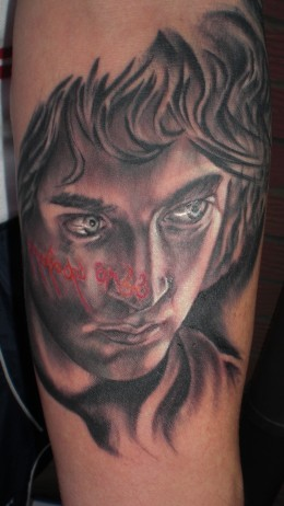 Frodo Baggins Tattoo (part of sleeve in progress) created by Adam Collings of New Wave Tattoo, London, UK