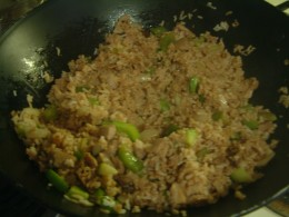 Pork Fried Rice made in an electric wok