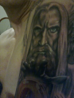 Saruman Tattoo (part of sleeve in progress) created by Adam Collings of New Wave Tattoo, London, UK