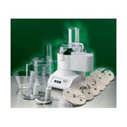 A Small Scale Commercial Food Processor with multiple attachments.