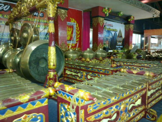 A set of gamelan (Javanese musical instruments)