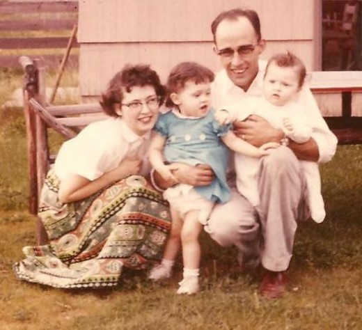 Mom on the right, sister Chris, Dad, and I am the baby. I love this picture of my mom. She was so young and pretty.