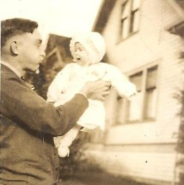 "This is precious. My mom was named Marilyn Joy at birth. But as a baby, her father, pictured here with her as a baby, dubbed her his little ""Honey Bunny Boo."" You can see how much he loved her. The name Bunny stuck until about her late 40's."